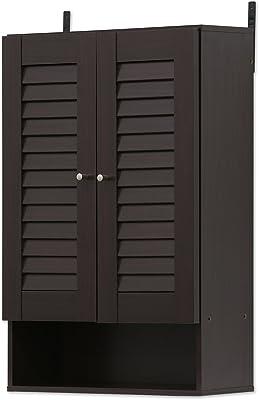 FURINNO Indo Double Door Wall Cabinet, 19.7 Inch, Espresso