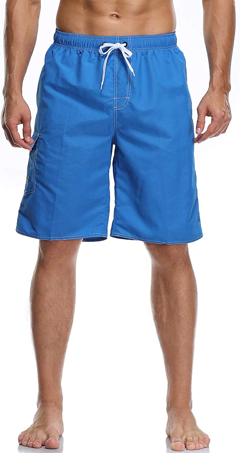 Vocanbomor Mens Quick Dry Swim Trunks Board Shorts with Mesh Lining Swimwear Bathing Suits
