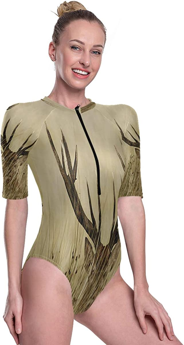 SLHFPX Womens Zip Up Printed Short Sleeve 1 Piece Rash Guard Swimsuit Whitetail Deer Fawn in Wilderness Swimwear