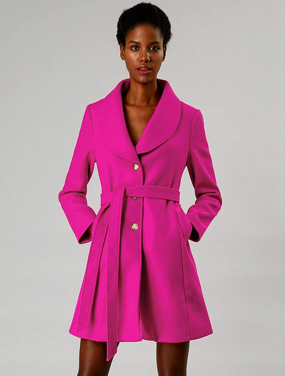 Allegra K Damen Umlegekragen Bindegürtel Trenchcoat Mantel Hot Rosa