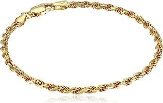 Amazon Essentials - Pulsera de eslabones de plata de ley chapada en oro o rodio con corte de diamante, Plata de ley chapad...