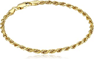 Amazon Essentials Gold or Rhodium Plated Sterling Silver Diamond-Cut Rope Chain Link Bracelet
