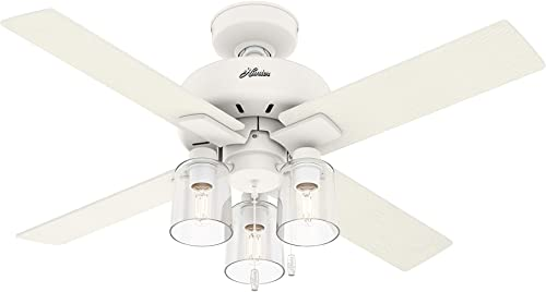 """popular Hunter Pelston Indoor outlet online sale Ceiling Fan with LED Light and Pull Chain, 44"""", Matte online White outlet sale"""