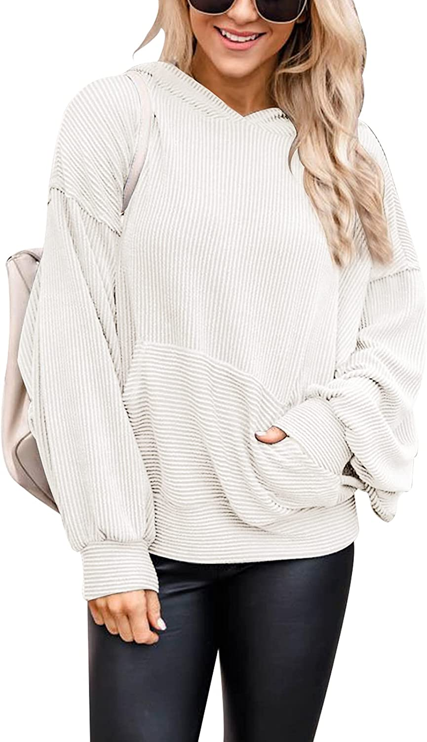 PRETTYGARDEN Women's Casual Solid Color Long Sleeve Ribbed Pullover Hoodie Sweatshirt Tops With Pockets