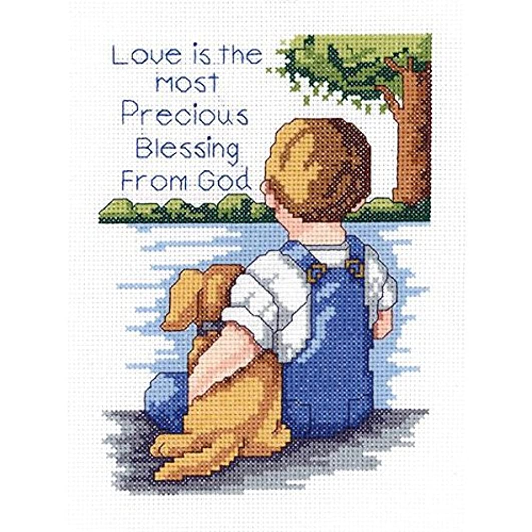 Janlynn 21-1745 Precious Blessing 5 by 7-Inch Counted Cross Stitch Kit, Mini