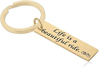 """Daesar Stainless Steel Key Chain for Men""""life is abeautiful ride"""" Silver Keychain Rings"""