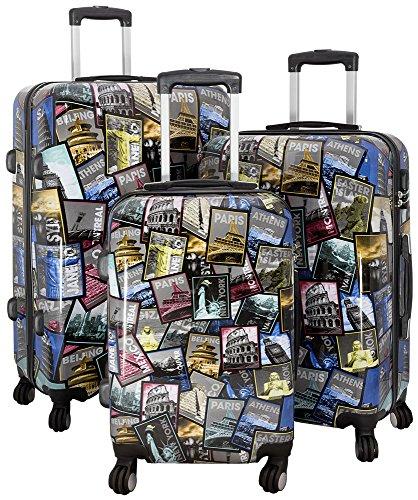 Polycarbonat Reisekoffer Trolley Hartschale - Design Weltreise Paris New York Athen Rio (Kofferset 3tlg)