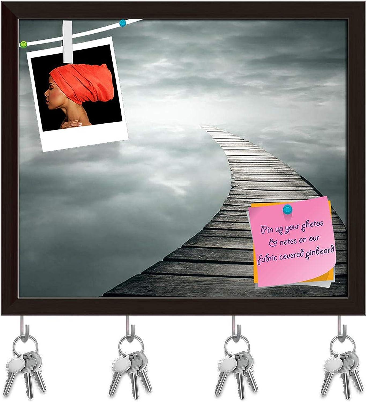 Artzfolio Poetic Background with A Wooden Footbridge Key Holder Hooks   Notice Pin Board   Dark Brown Frame 18.7 X 16Inch