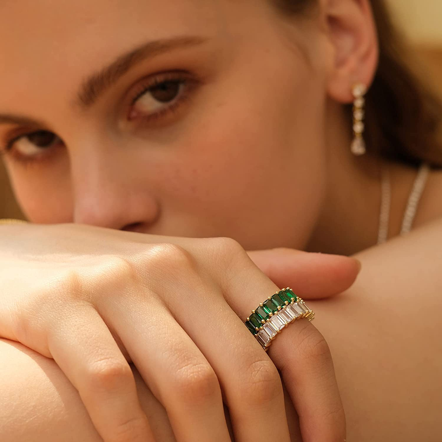 Nossa Green Emerald Band (5 Carat) 18K Gold Plated Claw Prong   Rectangle Emerald Cut Eternity Band CZ Ring Rectangle CZ Ring