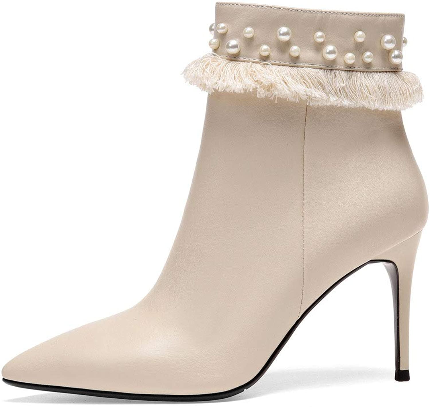 Women's Stiletto shoes, Leather Pointed Toe Ankle Boots Mid Stiletto Heel Pull On Booties Wedding Party & Evening Formal shoes (color   Beige, Size   38)