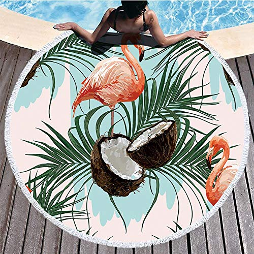 Toalla de playa Boyouth redonda, flamencos y hojas tropicales, diseño de impresión con borlas ultra suave, superabsorbente, toalla multiusos