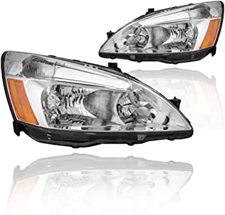 Replacement Headlight Assembly GHDAC03-A2 For 03 04 05 06 07 Honda Accord Headlight Assembly OE Headlamp Replacement, Chrome Housing Clear Lens, One-Year Limited Warranty(Pair,HO2502120&HO2503120)