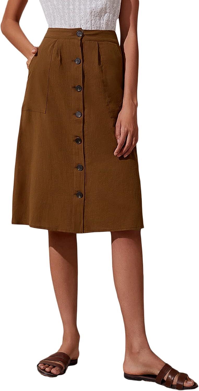 SheIn Women's Casual Button Front High Waist Pockets Solid A Line Midi Skirt