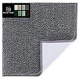 Original Luxus Chenille Badteppich Matte, 16x24, extra weiche und saugfähige Shaggy Teppiche, maschinenwaschbar, perfekter Plüsch Teppich Matten für Wanne, Dusche und Bad, grau