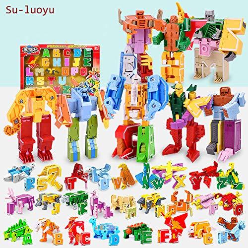 Su-luoyu Juguetes Aprendizaje para Niños 3 A 12 Años Edad Letras Dinosaurios Robot Juguetes Transformer Puzzle Regalos Rompecabezas Deformación Letras Educativos Interactivos 26 Piezas