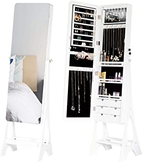 Mellcom Vertical Jewelry Cabinet, Frameless Full Length Mirror, Lockable Design, Angle Adjuestable Jewelry Organizer, Large Capacity Dressing Mirror Makeup Jewelry Armoire