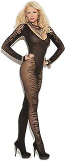 Hot Spot Sexy Women's Long Sleeve Sheer Jacquard Bodystocking Sleepwear Lingerie Black