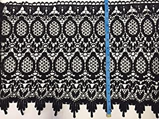By The Yard, Venise Lace Trim Elegant Embroidery with Wide Fringe, Black, 15.5