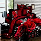 Zantec Set da Letto 4 PZ 3D Big Red Rose Floral Bedding Set Copripiumino Matrimonio Lenzuola Federe Set Letto