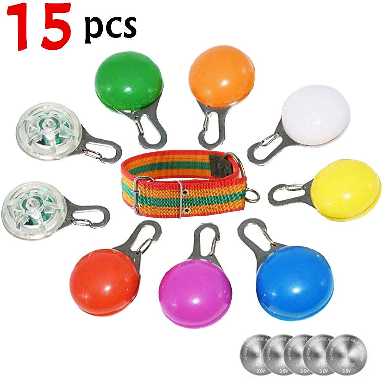 Dog Lights Collars, ClipOn Pet, Dog Collar LED Light, Dog Tag Light Led Safety Light Waterproof Dogs Cats Night Walking, Extra Replacement Batteries Dog Collar Included (colorful)