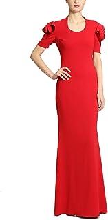 Badgley Mischka Scoop Neck Floor Length Sheath Dress with Rosette Short Sleeves, Ruby Red