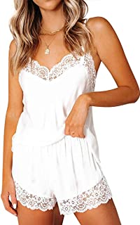 CHYRII Women's Sexy Silk Satin Pajamas Sets Lace Trim Cami Tops Shorts Sleepwear