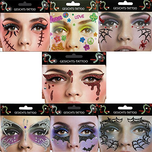 Gesicht Tattoo Face Art Halloween Karneval Träne Fledermaus Flower Power Narbe Spinne (Narbe)