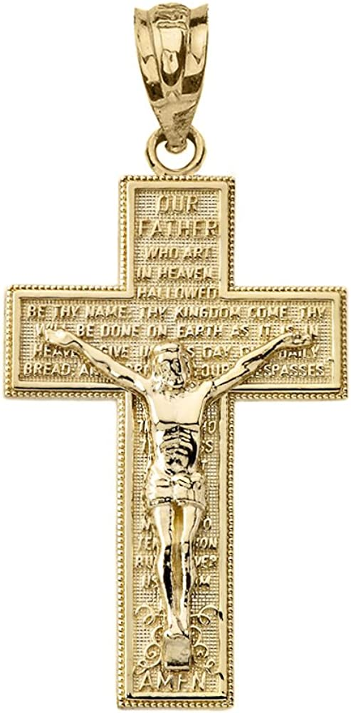 Solid 10k Yellow Gold Catholic Cross Crucifix with Lord's Prayer Pendant