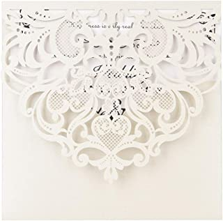 Lixada 20Pcs Pearl Paper Cut Wedding Invitation Cards Greeting Card Kits Event Party Supplies with Blank Inner Sheet