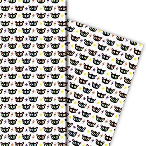 Kartenkaufrausch Coole Halloween Geschenkpapier Set 4 Bogen, Dekorpapier mit Monster Katzen, für schöne Geschenk Verpackung, Musterpapier zum basteln 32 x 48cm