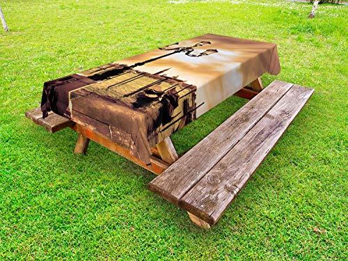 ABAKUHAUS Venedig Outdoor-Tischdecke, Lagoon Boote Markus, dekorative waschbare Picknick-Tischdecke, 145 x 305 cm, Pale Braun Schwarz