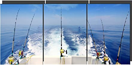 3 Panel Canvas Wall Art Fishing Rod and Reels Pictures for Living Room Blue Seaview Paintings HD Prints Fishing Tackle Artwork Giclee Home Modern Decor Framed Stretched Ready to Hang(48''Wx24''H)