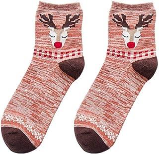 VJGOAL, Moda casual mujer Elk de Navidad tejido liso Estampado fino Cómodo Transpirable Calcetín de algodón Medias medias(Un tamaño,Naranja)