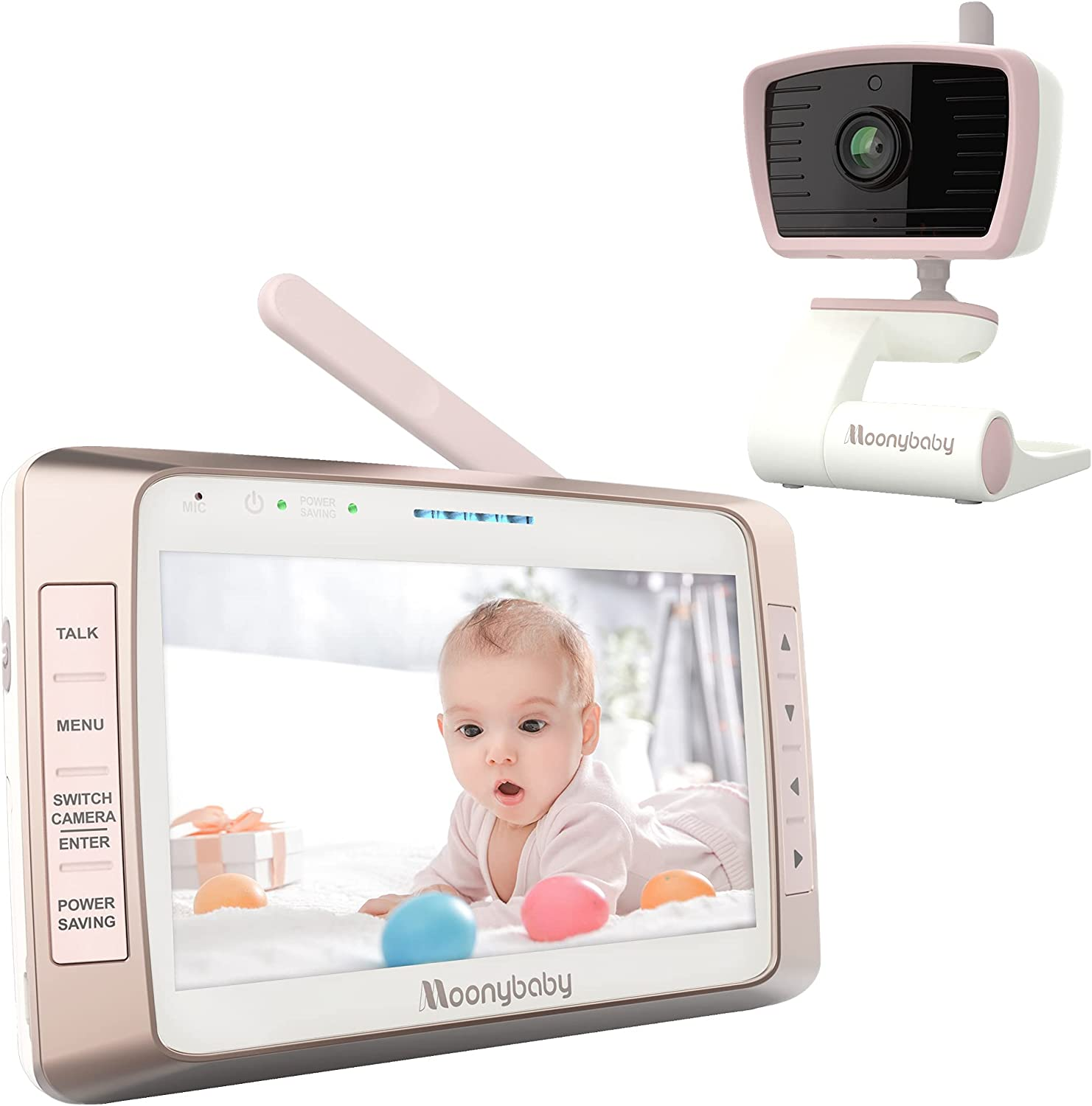 Moonybaby Long Range No WiFi Baby Monitor with Large Screen, Long Battery Life, Auto Night Vision, Talk Back, Auto Scan, Lullabies, Power Saving/Voice Activation, Trust 50s