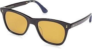 Toms Fitzpatrick 10014005 Unisex Shiny Black Frame Original Amber Lens Wrap Sunglasses