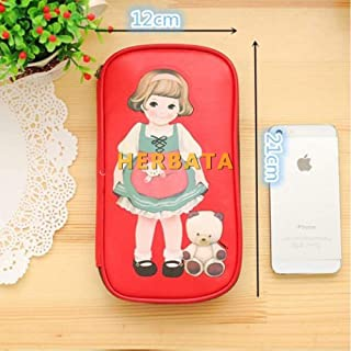 Estuches Mujeres rojas lindo cartón muñeca chica patrón Retro gran caja de lápices bolsa de maquillaje cosmético bolsac...