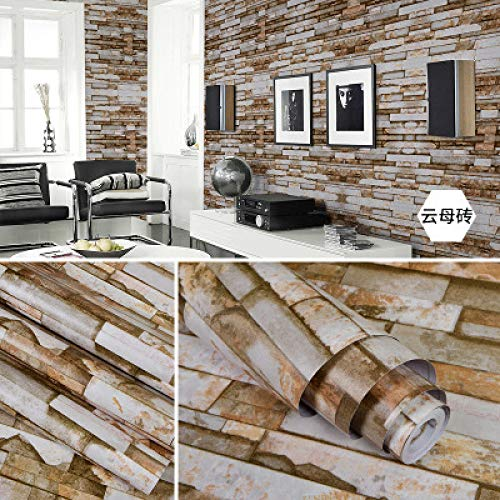 Zelfklevend behang slaapkamer woonkamer meubilair baksteen behang retro 0.45m*10m Mica Brick