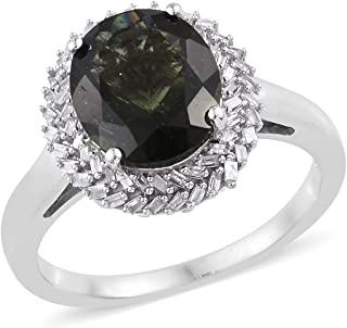 Moldavite Diamond Halo Ring 925 Sterling Silver Platinum Plated Jewelry Gift for Women Size 5 Ct 3.6