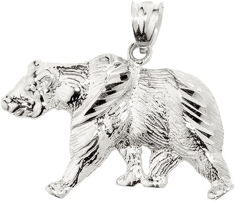Animal Kingdom 10k Solid White Gold Grizzly Bear Pendant