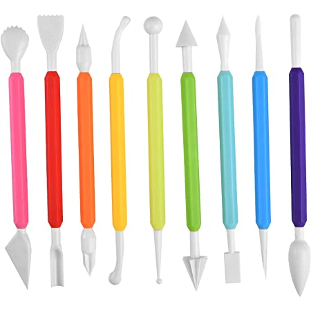 Irich Outils de modelage fondants avec 9 pièces, gâteaux à double pointe, 16 façons différentes de sculpter des gâteaux, pâte de gomme, sucre en céramique et artisanat 9 Pièces Blanc