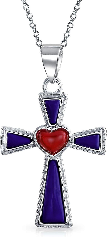 Southwestern Style Semi Precious Gemstones Heart Penda OFFicial shop Cross Fashion Red