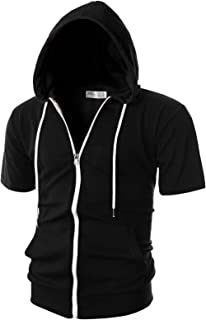 OHOO Mens Slim Fit Short Sleeve Lightweight Zip-up Hoodie with Kanga Pocket