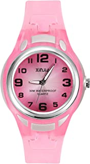 Kids Analog Watches for Girls Boys,Child Waterproof Learning Time Wrist Watch Easy to Read Time WristWatches for Kids as Gift(Pink/Blue/Black/White/Purple)