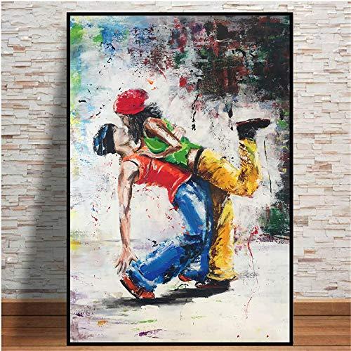 Abstracto Hip-Hop Lover Dancing Canvas Art Posters e impresiones Cuadro de pared Lienzo Pintura impresa para la decoración de la sala de estar 45x55cm (17.7x21.7in) Marco interno