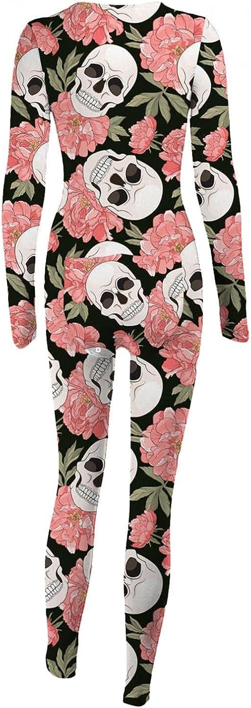 UOCUFY Pajamas for Women,Women V Neck Long Sleeve Adults Jumpsuit Back Functional Buttoned Flap Halloween Bodysuit Sleepwear