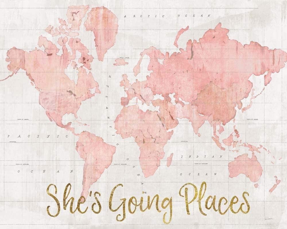 Across The World Shes Going Places Pri Pink Mesa Mall Art by Schlabach Max 59% OFF Sue