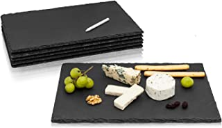 AMAZY Assiettes en Ardoise (Set de 6) + Craie de marquage – Sets de Table en Ardoise Naturelle avec Pieds antidérapants po...
