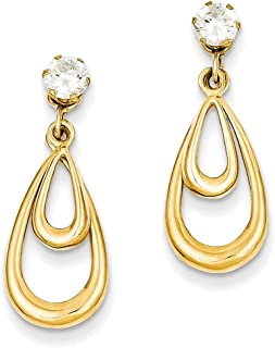 Finejewelers 14k Yellow Gold Polished W/cz Stud Earring Jackets