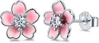 925 Sterling Silver Stud Earrings,Cute Flower Ear Studs for Women Girl,White/Black/Rose Gold Plated, Hypoallergenic Jewelry Gift