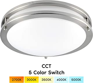 Luxrite 12 Inch LED Flush Mount Ceiling Light, CCT Color Temperature Selectable 2700K | 3000K | 3500K | 4000K | 5000K, Dimmable Ceiling Light Fixture, 14W, 1120 Lumens, Energy Star, ETL Listed